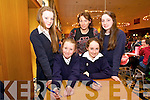 Hillary Ashe, Mary Fitzgerald, Teacher Kathleen Jordan, Bethany Marony  Clodgh Jordan from Bunscoil an Chlochair, Dingle at the Chapter 23 Credit Union Schools Quiz finals at Ballyroe Heights Hotel on Sunday