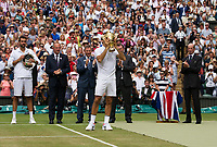 Roger Federer (3) of Switzerland celebrates with the Trophy after his victory against Marin Cilic (7) of Croatia in their Gentlemen's Singles Final - Federer def Cilic 6-3, 6-1, 6-4<br /> <br /> Photographer Ashley Western/CameraSport<br /> <br /> Wimbledon Lawn Tennis Championships - Day 13 - Sunday 16th July 2017 -  All England Lawn Tennis and Croquet Club - Wimbledon - London - England<br /> <br /> World Copyright &copy; 2017 CameraSport. All rights reserved. 43 Linden Ave. Countesthorpe. Leicester. England. LE8 5PG - Tel: +44 (0) 116 277 4147 - admin@camerasport.com - www.camerasport.com