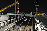 Bridge Pick over Tracks | Night Construction | Fairfield Railroad Station @ Metro Center