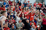 WOLCOTT, CT-031418JS14- Wamogo fans cheer as their team takes the lead during their win over East Hampton in the Division V semifinal game Wednesday at Wolcott High School. <br /> Jim Shannon Republican-American