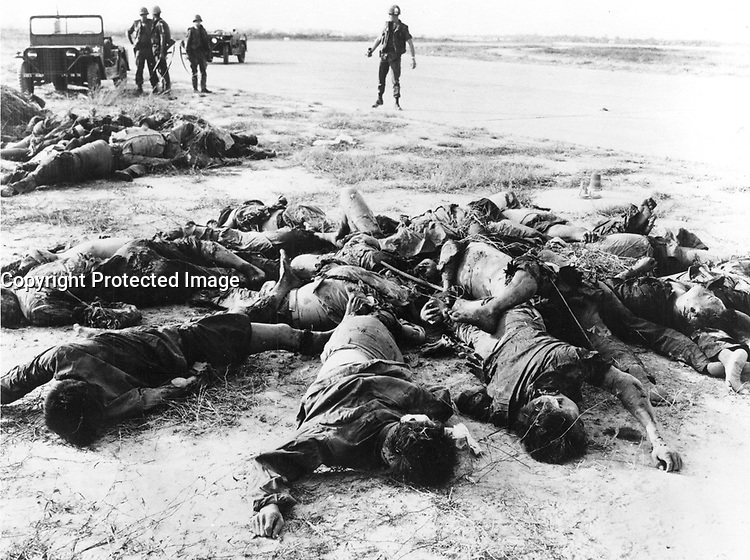 1 Feb. 1968 - RVN Saigon Viet Cong dead after an attack on the perimeter of Tan Son Nhut Air Base.