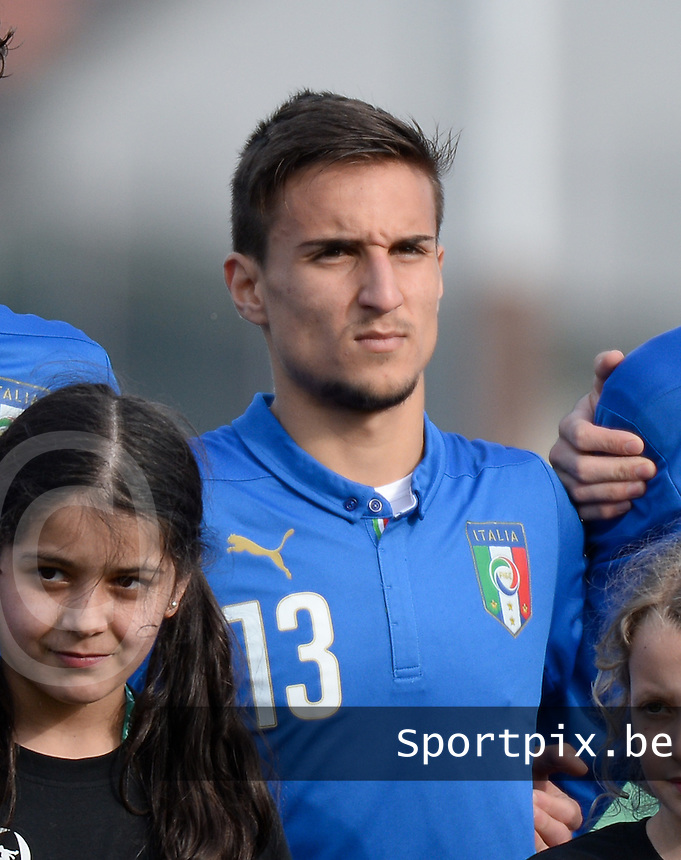 20150323 - MARBURG , GERMANY  : Italian Andrea Capristo pictured during the soccer match between Under 17 teams of Slovakia and Italy , on the second matchday in group 8 of the UEFA Elite Round Under 17 at Georg-Gassmann , Marburg Germany . Monday 23 rd  March 2015 . PHOTO DAVID CATRY