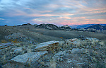 Idaho, South Central, Albion. Sunset at City of Rocks in autumn.