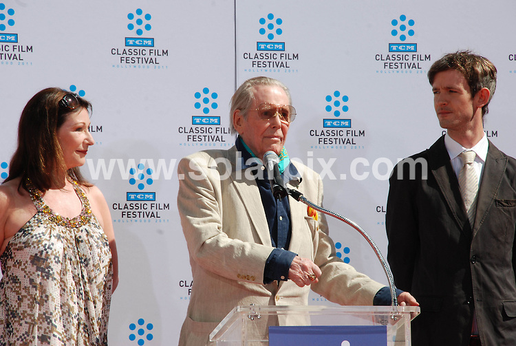 **ALL ROUND PICTURES FROM SOLARPIX.COM**                                             **SYNDICATION RIGHTS FOR UK, AUSTRALIA, DENMARK, PORTUGAL, S. AFRICA, SPAIN & DUBAI (U.A.E) & ASIA (EXCLUDING JAPAN) ONLY**                                                                                  Caption:  British actor Peter O'Toole Hand and Footprint Ceremony at Grauman's Chinese Theatre in Hollywood on April 30, 2011 - Grauman's Chinese Theatre - Hollywood, CA, USA                                                                               This pic: Peter O'Toole with his daughter Kate O'Toole and son Lorcan O'Toole                                                                                            JOB REF:        PHZ /Evans      DATE:                                                            **MUST CREDIT SOLARPIX.COM OR DOUBLE FEE WILL BE CHARGED**                                                                      **MUST AGREE FEE BEFORE ONLINE USAGE**                               **CALL US ON: +34 952 811 768 or LOW RATE FROM UK 0844 617 7637**