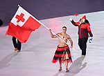 Tonga enter the stadium with their flagbearer Pita Taufatofua. Opening Ceremony. Pyeongchang2018 winter Olympics. Olympic stadium. Pyeongchang. Republic of Korea. 09/02/2018. ~ MANDATORY CREDIT Garry Bowden/SIPPA - NO UNAUTHORISED USE - +44 7837 394578