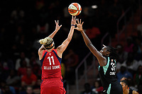 Washington, DC - August 25, 2019: Washington Mystics forward Elena Delle Donne (11) shoots a jump shot over New York Liberty center Tina Charles (31) during first half action of game between the New York Liberty and the Washington Mystics at the Entertainment and Sports Arena in Washington, DC. The Mystics defeated New York 101-72. (Photo by Phil Peters/Media Images International)