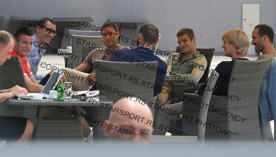 Fudbal Soccer<br /> Okupljanje pred turneju po SAD (USA-Amerika) i Brazil<br /> from left Zoran Tosic Radosav Petrovic Dusko Tosic Darko Lazovic Dusan Basta and Dragan Mrdja<br /> Star Pazova, 05.20.2014.<br /> foto: Srdjan Stevanovic/Starsportphoto &copy;