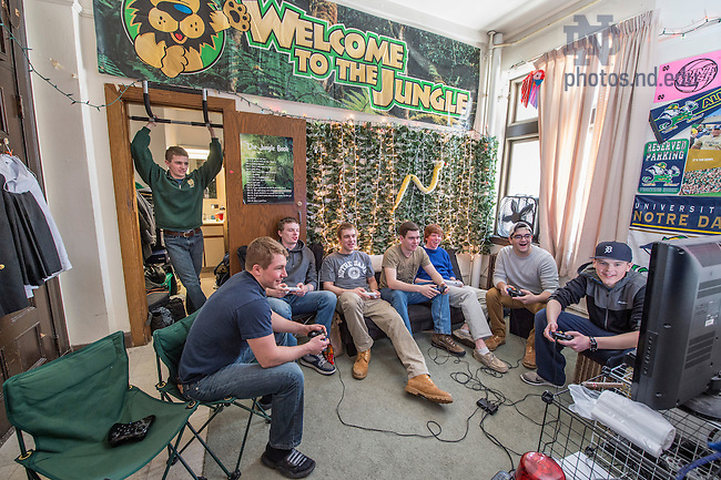 Mar. 4, 2015; Jungle room in Alumni Hall. (Photo by Barbara Johnston/University of Notre Dame)