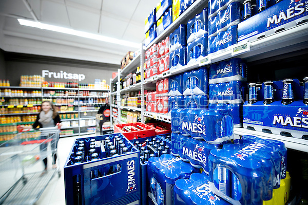 Illustration picture of beer displays in a supermarket (Belgium, 14/05/2014)