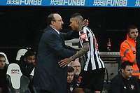Newcastle United manager Rafa Benítez embraces Kenedy of Newcastle United after he is substituted during Newcastle United vs Southampton, Premier League Football at St. James' Park on 10th March 2018