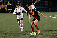 Rochester, NY - Friday April 29, 2016: Western New York Flash defender Alanna Kennedy (8), Washington Spirit forward Katie Stengel (12). The Washington Spirit defeated the Western New York Flash 3-0 during a National Women's Soccer League (NWSL) match at Sahlen's Stadium.
