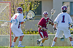 Los Angeles, CA 03/16/10 - Kevin Law (Chico State # 1), Thomas Holman (LMU # 3) and Marc Napp (LMU # 1) in action during the Chico State-Loyola Marymount University MCLA interdivisional game at Leavey Field (LMU).  LMU defeated Chico State 7-4.