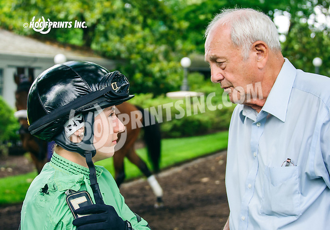 Ashley Castrenze & Art Stauffer before winning the race with Sterlings Dolly at Delaware Park on 6/2/16<br /> Ashley is wearing the same silks that her mom also wore when she rode for Art.