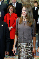 Princess Letizia of Spain attend an audience at Zarzuela Palace attend an audience at Zarzuela Palace. December 14, 2012. (ALTERPHOTOS/Caro Marin) /NortePhoto