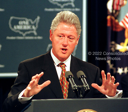 "United States President Bill Clinton makes remarks after the report ""One America in the 21st Century"" by The President's Initiative on Race advisory board at the White House in Washington, D.C. on September 18, 1998..Credit: Ron Sachs / CNP"