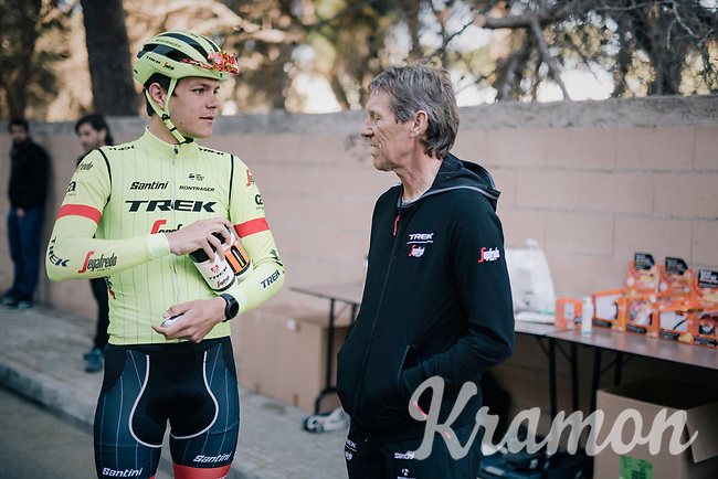 Jasper Stuyven (BEL/Trek-Segafredo) & DS Dirk Demol after a training ride at the pre-season Trek-Segafredo Mallorca training camp <br /> <br /> January 2018