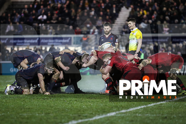 A London Scottish scrum during the Greene King IPA Championship match between London Scottish Football Club and Jersey Reds at Richmond Athletic Ground, Richmond, United Kingdom on 16 March 2018. Photo by David Horn.