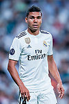 Carlos Henrique Casemiro of Real Madrid reacts during the UEFA Champions League 2018-19 match between Real Madrid and Roma at Estadio Santiago Bernabeu on September 19 2018 in Madrid, Spain. Photo by Diego Souto / Power Sport Images