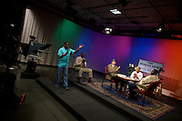 a local Chicago singer performs live a song he wrote about Senator Barack Obama on the Morgan Perry Show, a talk show on a local Chicago TV station in Chicago, Illinois, United States on Wednesday August 6 2008...The Morgan Perry show promotes a live political debate on the status of Chicago's south side neighborhoods together with national and foreign politics.