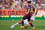 Barcelona´s Leo Messi (L) during La Liga match between Rayo Vallecano and Barcelona at Vallecas stadium in Madrid, Spain. October 04, 2014. (ALTERPHOTOS/Victor Blanco)