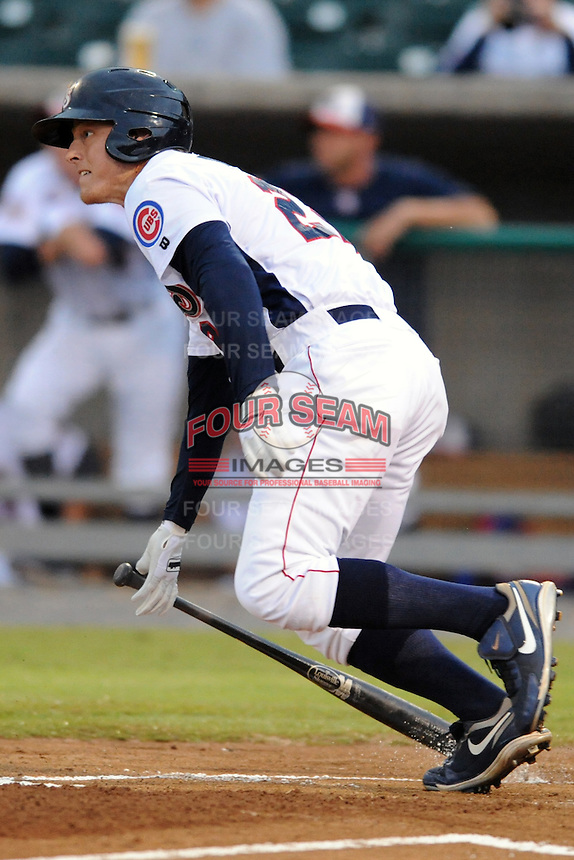 Tennessee Smokies right fielder Jim Adduci #22 swings at a pitch during game one of the Southern League Northern Division Championship Series between the Chattanooga Lookouts and the Tennessee Smokies at Smokies Park on September 8, 2011 in Kodak, Tennessee.  The Smokies won the game 9-6.  (Tony Farlow/Four Seam Images)