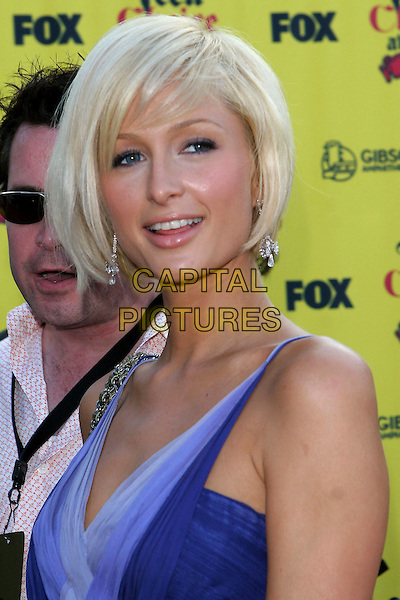 PARIS HILTON.Teen Choice Awards,.The Gibson Amphitheatre,.Universal City, 14th August 2005.portrait headshot blue layer chiffon strappy dress silver high heel sandals shoes cheak fur chanel handbag blonde bob hair.www.capitalpictures.com.sales@capitalpictures.com.© Capital Pictures.