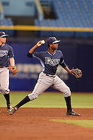 Tampa Bay Rays shortstop Adrian Rondon (2) during an Instructional League game against the Boston Red Sox on September 25, 2014 at Tropicana Field in St. Petersburg, Florida.  (Mike Janes/Four Seam Images)