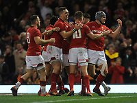Wales' Jonathan Davies celebrates scoring his side's second try with team-mates<br /> <br /> Photographer Ian Cook/CameraSport<br /> <br /> Under Armour Series Autumn Internationals - Wales v Scotland - Saturday 3rd November 2018 - Principality Stadium - Cardiff<br /> <br /> World Copyright &copy; 2018 CameraSport. All rights reserved. 43 Linden Ave. Countesthorpe. Leicester. England. LE8 5PG - Tel: +44 (0) 116 277 4147 - admin@camerasport.com - www.camerasport.com