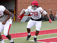 NWA Democrat-Gazette/DAVID GOTTSCHALK   Arkansas Razorback Bijohn Jackson goes through drills Tuesday, August 1, 2017, during practice on campus in Fayetteville.