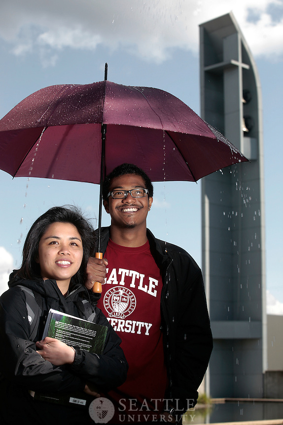 04192011 - Seattle University, Branded Imagery shoot, rain shot..Students Mel Maglaya and Craig Cordova