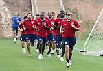 Josh Wolff (r) leads a group of players during a timed run on Thursday, May 11th, 2006 at SAS Soccer Park in Cary, North Carolina. The United States Men's National Soccer Team held a training session as part of their preparations for the upcoming 2006 FIFA World Cup Finals being held in Germany.