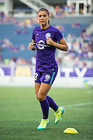 Orlando, Florida - Saturday, April 23, 2016: Orlando Pride forward Alex Morgan (13) warms up during an NWSL match between Orlando Pride and Houston Dash at the Orlando Citrus Bowl.