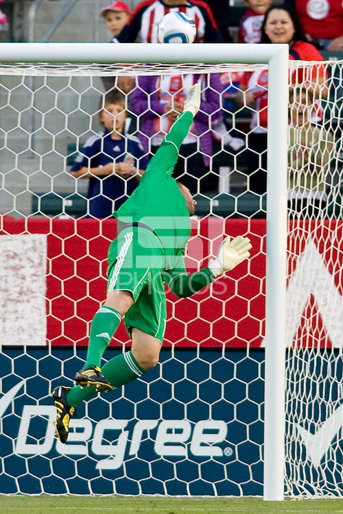 Philadelphia Union goalkeeper Chris Seitz (1) pushes the ball over the crossbar. The Philadelphia Union and CD Chivas USA played to 1-1 draw at Home Depot Center stadium in Carson, California on Saturday evening July 3, 2010..