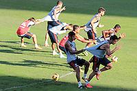 RIO DE JANEIRO; RJ; 18 DE JULHO 2013-  A equipe do Fluminense treinou nesta quinta-feira nas Laranjeiras se preparando para o clássico contra o Vasco do próximo domingo na volta do time tricolor ao Maracanã. FOTO: NÉSTOR J. BEREMBLUM - BRAZIL PHOTO PRESS.