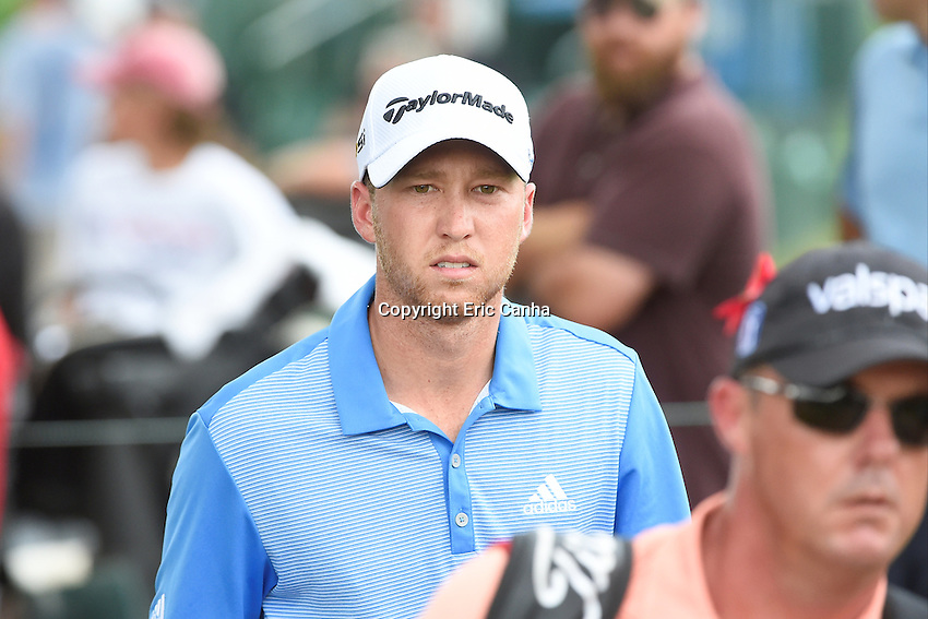 August 6, 2016:  Daniel Berger makes his way to the 18th tee box during day three of the PGA Travelers Championship held at TPC River Highlands in Cromwell CT. Eric Canha/CSM