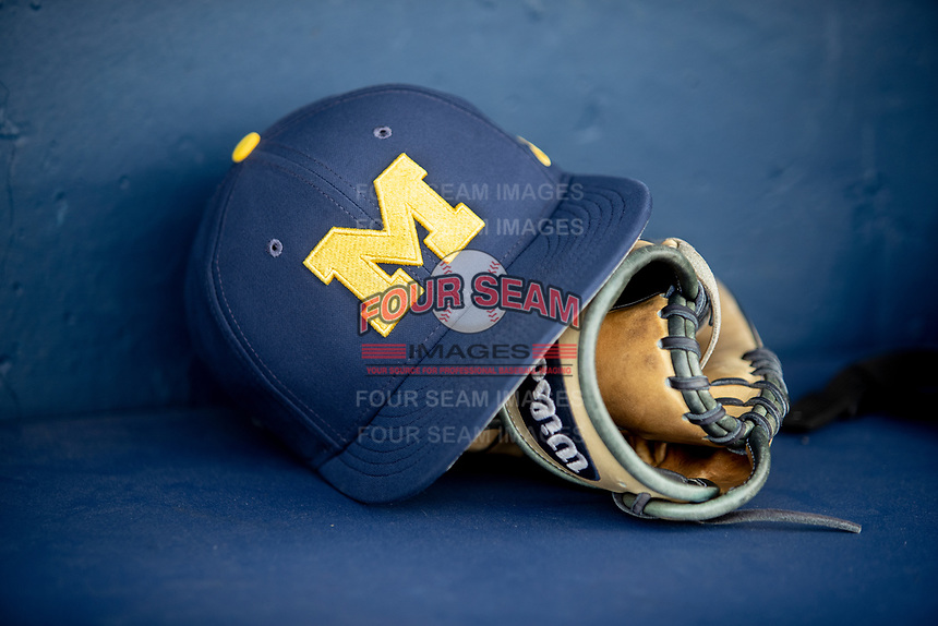 Michigan Wolverines hat on April 27, 2019 in the NCAA baseball game at Ray Fisher Stadium in Ann Arbor, Michigan. Michigan defeated Rutgers 10-1. (Andrew Woolley/Four Seam Images)