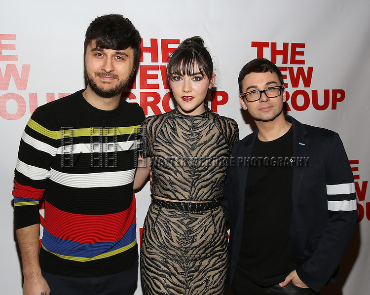 "Brad Walsh, Isabelle Fuhrman and Christian Siriano attend the Opening Night of The New Group World Premiere of ""All The Fine Boys"" at the The Green Fig Urban Eatery on March 1, 2017 in New York City."