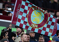 A young Aston Villa fan waves a flag during the Sky Bet Championship match between Aston Villa and Birmingham City at Villa Park, Birmingham, England on 11 February 2018. Photo by Bradley Collyer/PRiME Media Images.