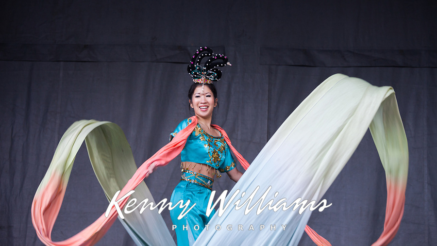 Beautiful Chinese Woman Performing Silk Ribbon Dance at the Lunar New Year Celebration, Chinatown, Seattle, WA, USA.