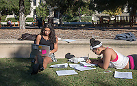 Occidental College students, from left, Madrugada Petrillo '15 and Natasha Anderson '16 study for finals on Dec. 11, 2013 in the Academic Quad. (Photo by Marc Campos, Occidental College Photographer)