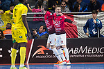 Rios R. Zaragoza Victor Tejel and Carlos Retamar celebrating a goal during Semi-Finals Futsal Spanish Cup 2018 at Wizink Center in Madrid , Spain. March 17, 2018. (ALTERPHOTOS/Borja B.Hojas)