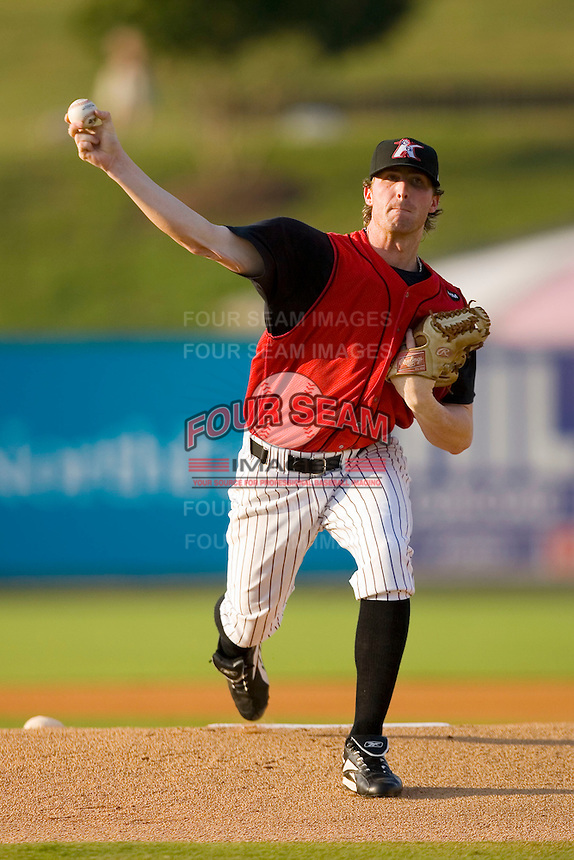 Starting pitcher James Albury #28 of the Kannapolis Intimidators in action versus the Augusta GreenJackets at Fieldcrest Cannon Stadium July 25, 2009 in Kannapolis, North Carolina. (Photo by Brian Westerholt / Four Seam Images)