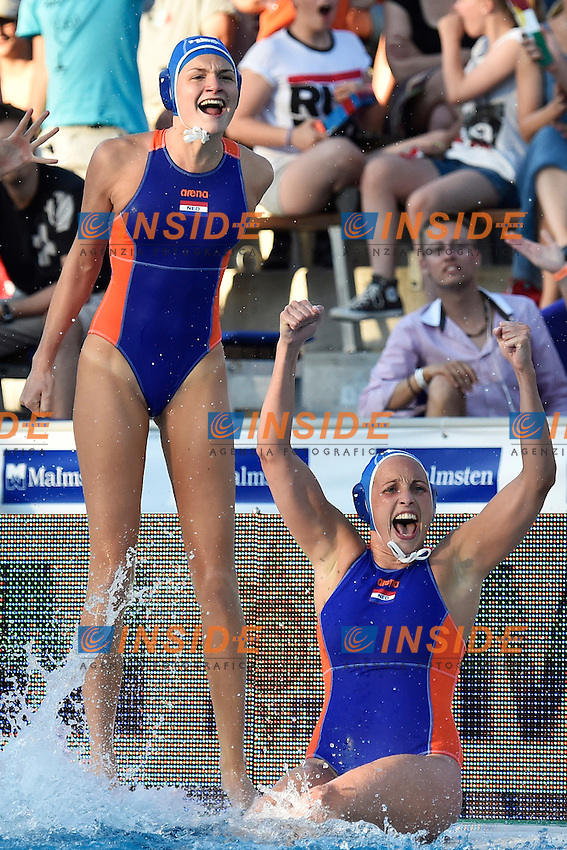 Celebration Netherlands <br /> Italy - Netherlands <br /> LEN European Water Polo Championships 2014<br /> Alfred Hajos Swimming Complex<br /> Margitsziget - Margaret Island<br /> Day11 Women - July 24 <br /> Photo A.Staccioli/Insidefoto/