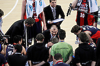 Caja Laboral Baskonia's coach with his players in time out Zan Tabak  during Spanish Basketball King's Cup match.February 07,2013. (ALTERPHOTOS/Acero)