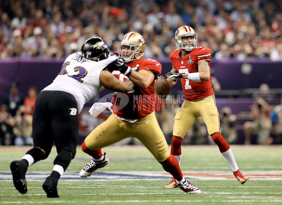 Feb 3, 2013; New Orleans, LA, USA; San Francisco 49ers quarterback Colin Kaepernick (7) against the Baltimore Ravens in Super Bowl XLVII at the Mercedes-Benz Superdome. Mandatory Credit: Mark J. Rebilas-
