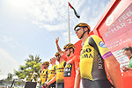 Race leader Primoz Roglic (SLO) and Team Jumbo-Visma presented at sign on before the start of Stage 5 of the 2019 UAE Tour, running 181km form Sharjah to Khor Fakkan, Dubai, United Arab Emirates. 28th February 2019.<br /> Picture: LaPresse/Massimo Paolone | Cyclefile<br /> <br /> <br /> All photos usage must carry mandatory copyright credit (&copy; Cyclefile | LaPresse/Massimo Paolone)