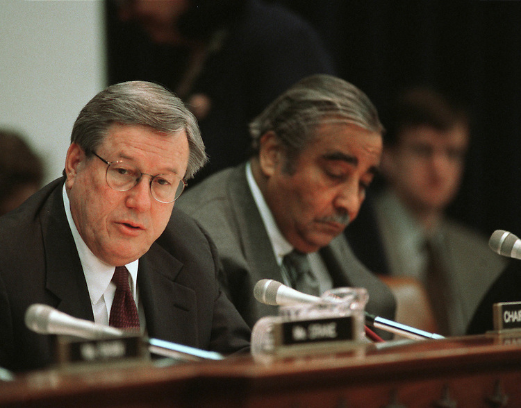 3/14/01.BUSH'S HEALTH & WELFARE PRIORITIES--Ways & Means Chairman Bill Thomas, R-Calif, and ranking Democrat Charles Rangel, D-N.Y., during a hearing with Health and Human Resources Secretary Tommy Thompson on the Administration's health and welfare priorities..CONGRESSIONAL QUARTERLY PHOTO BY SCOTT J. FERRELL