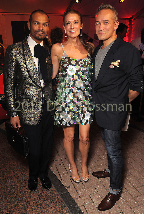 From left: Todd Ramos, Holly Waltrip and Cesar Galindo at the fourth night of Fashion Houston at the Wortham Theater Wednesday Oct. 12,2011.(Dave Rossman/For the Chronicle)