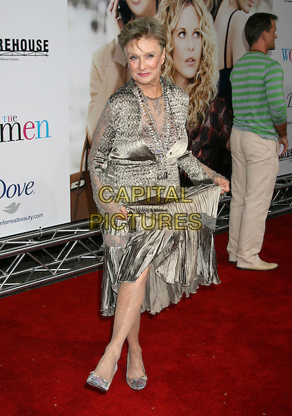 "CLORIS LEACHMAN .""The Women"" Los Angeles Premiere held at the Mann Village Theatre, Westwood, California.04 September 2008..full length silver grey gray silk satin skirt dress dancing shoes funny pose .CAP/ADM/MJ.©Michael Jade/Admedia/Capital Pictures"