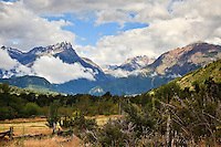 The Azul River Valley, Chile taken from horseback on the rise.  That is the 3 Nuns (3 Monjas) on the left, the spires in the light.